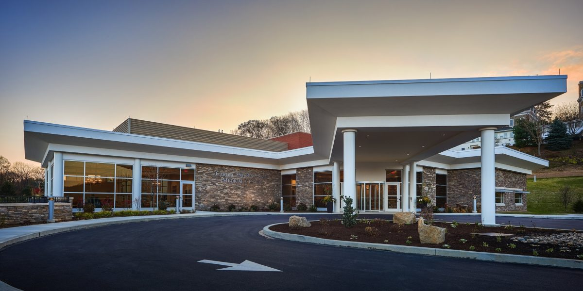 Neag medical center exterior front entrance sunset