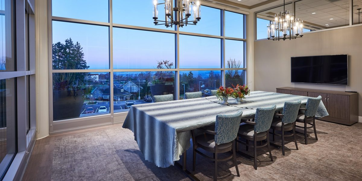 Neag medical center interior private dining at twilight.