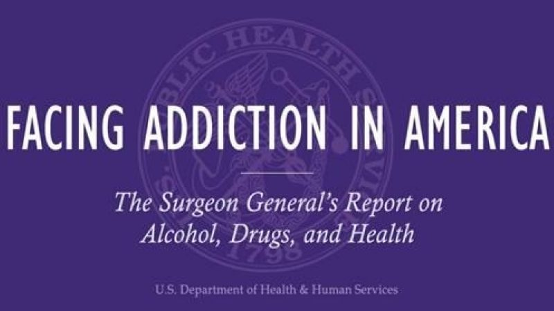 Cover of surgeon general's report on alcohol, drugs and health. Title reads Facing Addiction in America.
