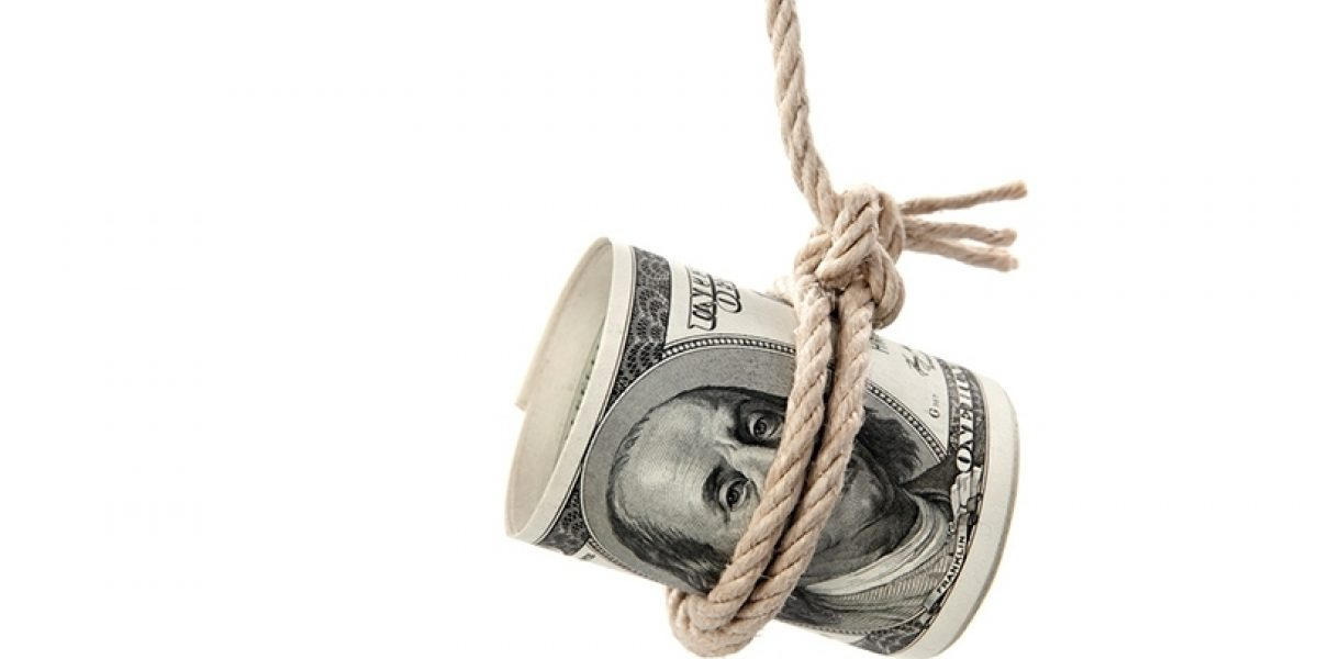 A rolled one hundred dollar bill with a rope tied around it, dangling from above.