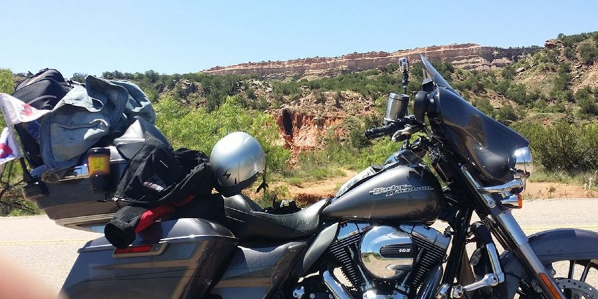 Photo of motorcycle on scenic highway from 2015 Ride for Recovery.