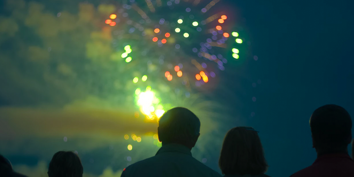 Silhouette of people watching fireworks at night.