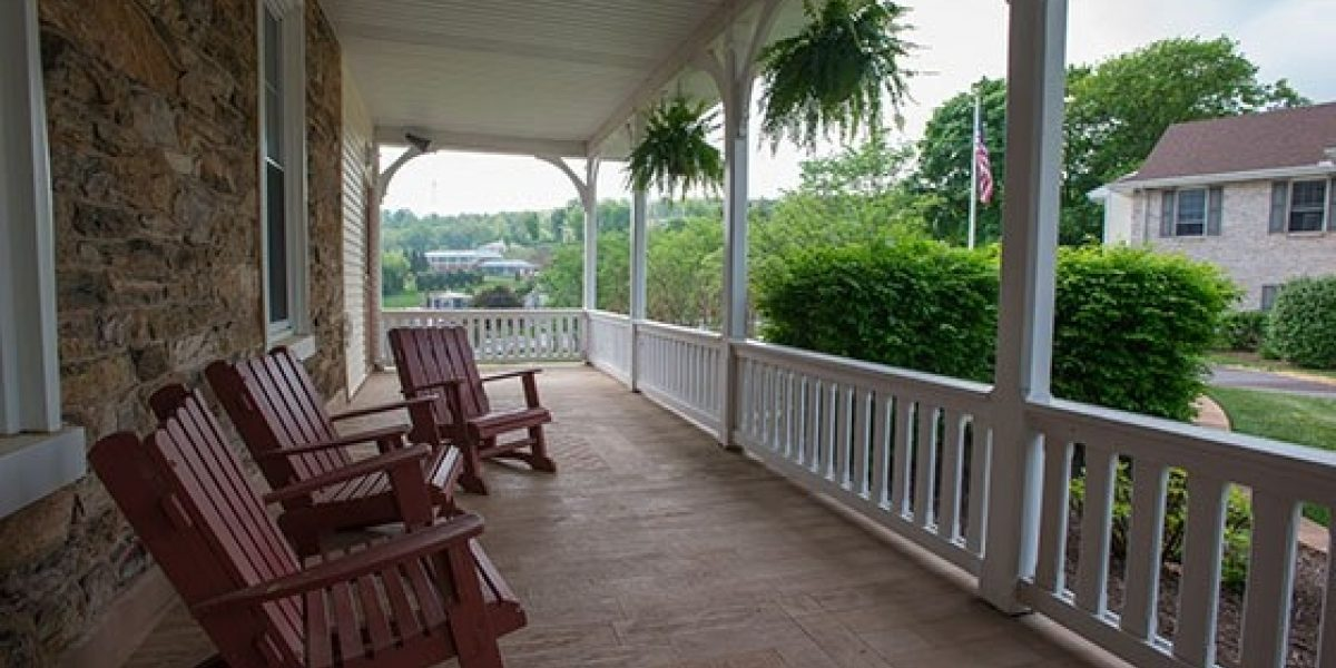 Photo of the porch outside Huyett Hall