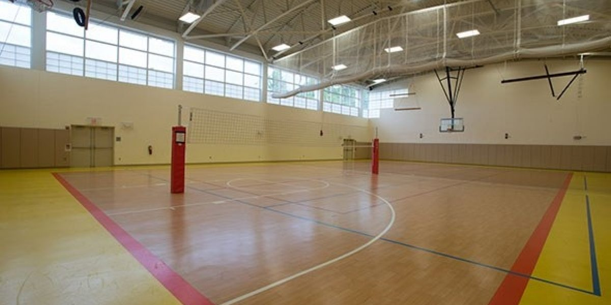 Photo of the indoor basketball court inside Levin Gym