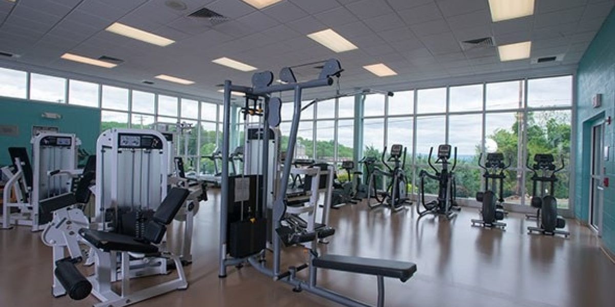 Photo of the inside of the gym, featuring a variety of exercise equipment.