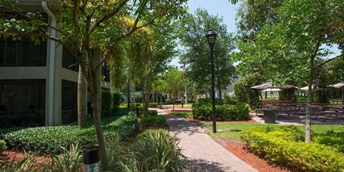 Photo of exterior of Renaissance residences, with a paved path and landscaped grounds.