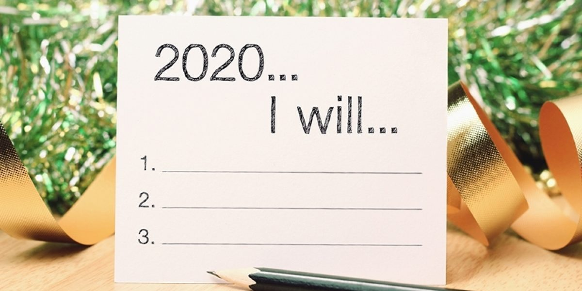 """Note with """"2020, I will..."""" written, with a space for three resolutions."""