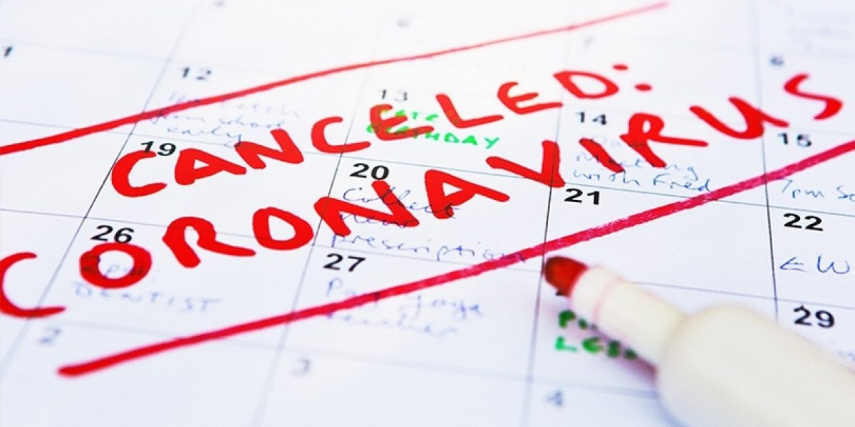 "The words ""canceled: coronovirus"" written in red ink across a calendar."