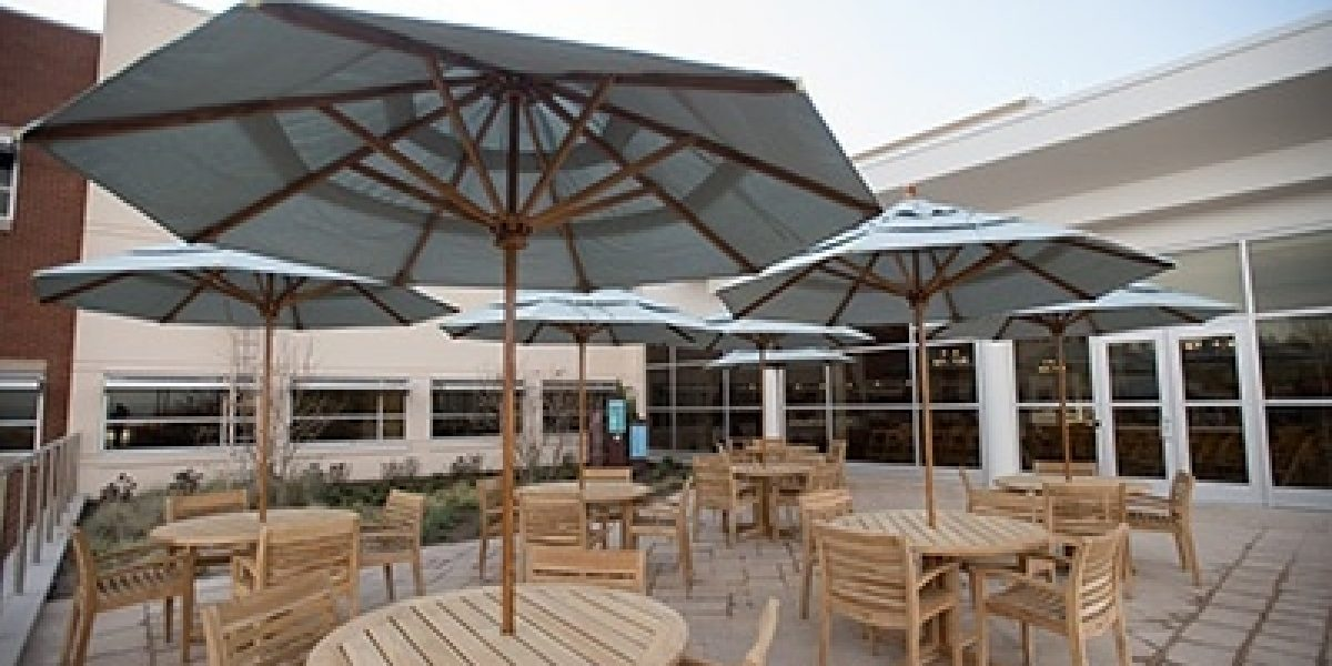 Photo of the patio area at the Carole and Ray Neag Medical Center