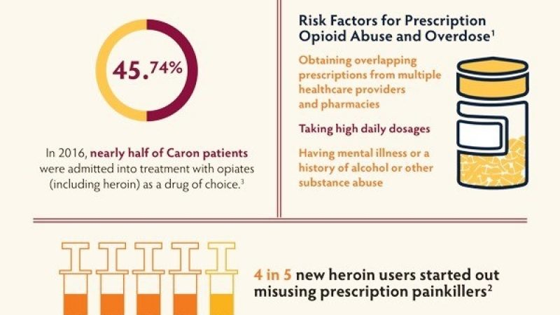 Infographic describing the widespread use of opioids and how many people become addicted to them.