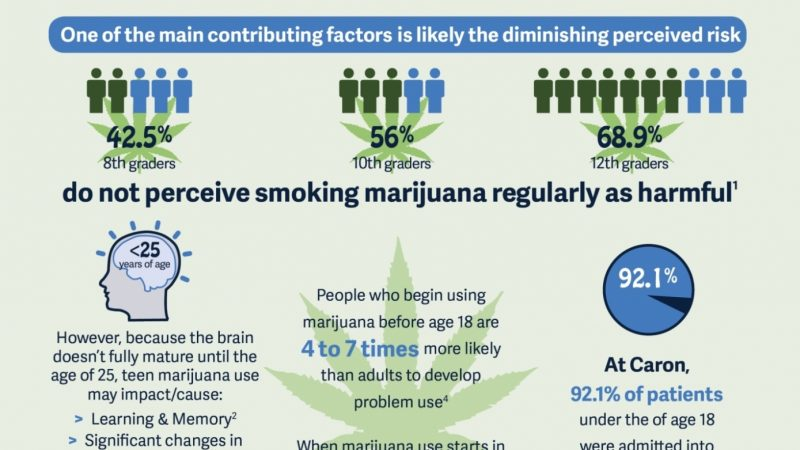 Infographic describing the impact of marijuana use on minors and their attitudes towards it.