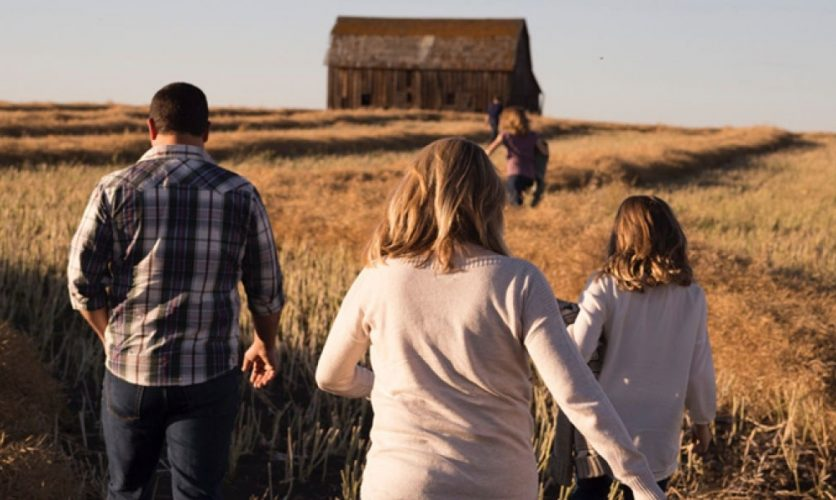 View from behind a family walking through a wheat field toward a barn.