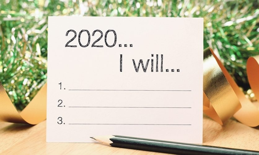 "Note with ""2020, I will..."" written, with a space for three resolutions."