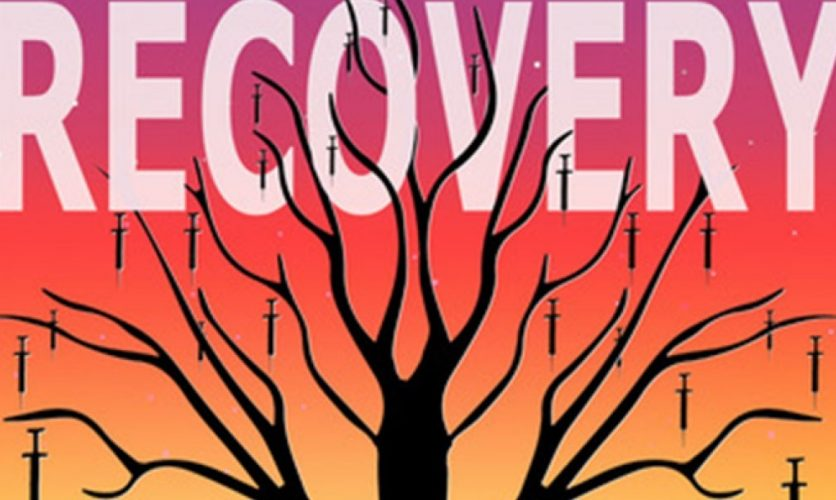 The word recovery on a pink to orange gradient background, and the silhouette of a tree with needles hanging from it.