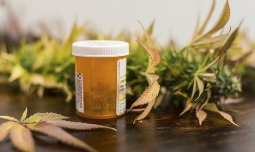Prescription bottle sitting on a table surrounded by marijuana leaves.